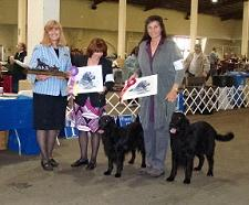 Susan St. John Brown, Bonnie DeMille with Summer, and Kari Mueske with Arrow